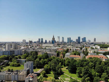 Amazing view from above. The capital of Poland. Great Warsaw. city center and surrondings. Aerial photo created by drone.