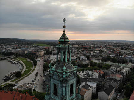 Aerial photo from drone. The culture and historical capital of Poland. Comfortable and beautiful Krakow. The land of Legend. The Wawel Castle.