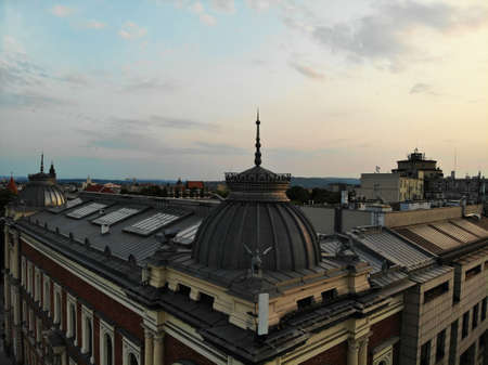 Aerial photo from drone. The culture and historical capital of Poland. Comfortable and beautiful Krakow. The land of Legend. Amazing sunset capture. Stock fotó