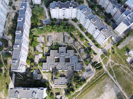 Chernihiv - view from above. Aerial photo created by drone. View on old kindergarden which is look like 8-bit monster from old game. Stock fotó
