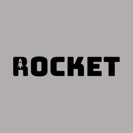 Rocket lettering creative vector illustration. Graphic objects and symbols isolated on background