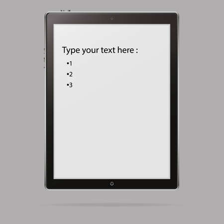 tablet style black color with blank touch screen isolated on background. Graphic vector illustration with space for your text