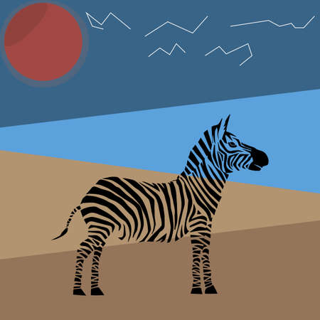 Animal vector illustration. Wild african zebra. beauty nature in vector design. Good for brand logo, wallpers, background, zoo ads. Simply and trendy flat silhouette graphic. From nature set.