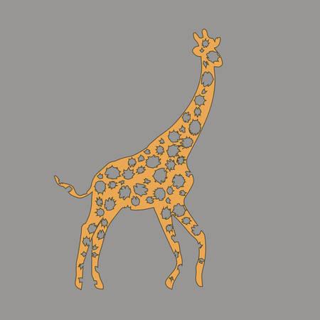 illustrazione vettoriale animale. Giraffa africana selvaggia. natura di bellezza nel disegno vettoriale. Buono per il logo del marchio, sfondi, sfondo. Grafica piatta semplice e trendy. Dal set della natura.