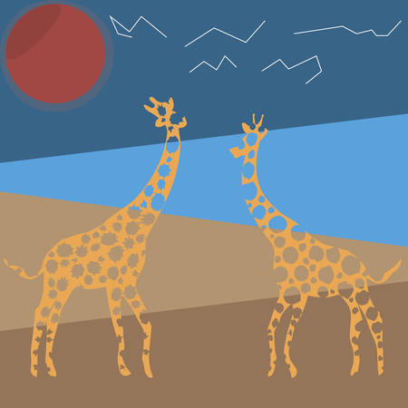 Animal vector illustration. Wild african giraffe. beauty nature in vector design. Good for brand logo, wallpers, background. Simply and trendy flat graphic. From nature set. Illusztráció
