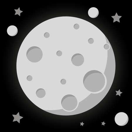 Space theme. Moon satellite. Planet flat design. Good for logo, background, icon etc. Trendy graphic style isolated on background Illusztráció