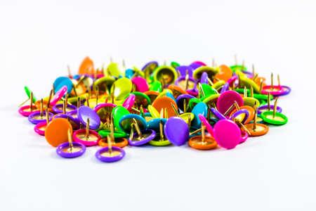 Colorful thumbtacks Stock Photo