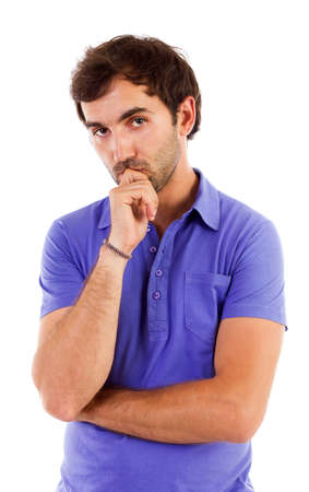 suspicious man: Closeup portrait of a pensive young caucasian man isolated on white background