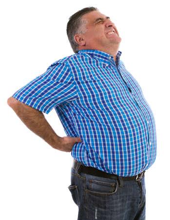 dolor de espalda: Hombre con un masaje de espalda dolor grande con las dos manos mientras soportaba el dolor abrumador