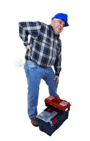 dorsalgia: Workman with back pain on white backround Stock Photo