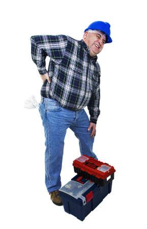 dorsalgia: Workman with back pain on white backround Stock Photo