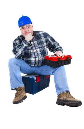 Desperate worker thinking about ideas  White background photo