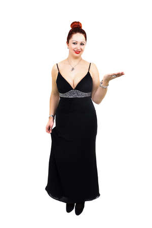 Overweight lady with stylish black dress, hand raised and a beautiful smile. Full length and White Background photo