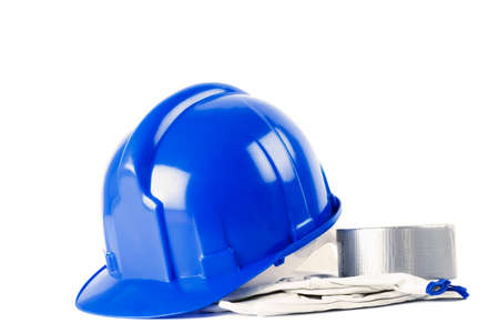 cautions: Construction equipment, safety cautions, isolated on white, close up, studio shoot.
