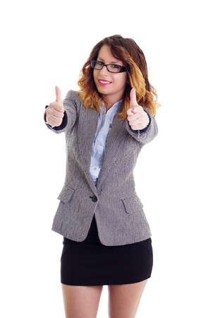 Smiling businesswoman with glasses and thumbs up isolated on white