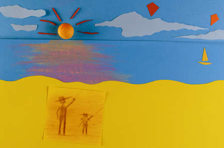 figurative: Memories of me and my father  Flying Kites, figurative father and daughter flying kites on a beach at the sunset