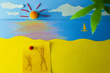 figurative: Memories of me and my father  Playing ball, figurative father and daughter playing ball on a beach at the sunset
