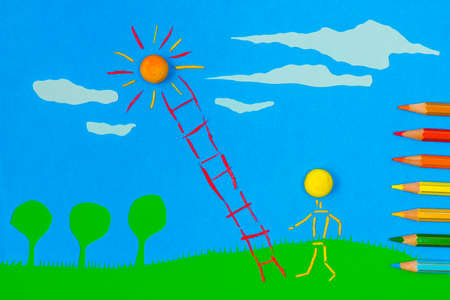 figurative: Figurative person climbing to the sun on a sunny day