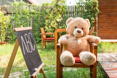 Teddy bear with written letters on blackboard outdoors. Education concept. Back to school