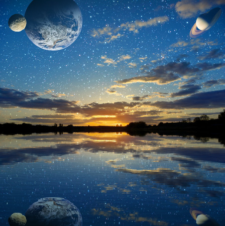 aquifer: Sunset over the lake on a sky background  Stock Photo
