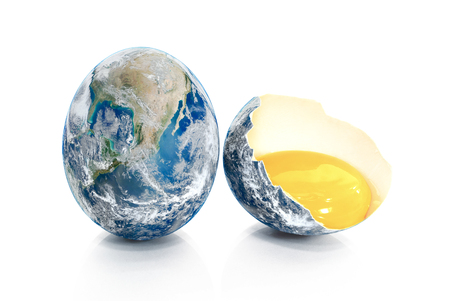 or shatter: Earth in the form of broken chicken eggs.