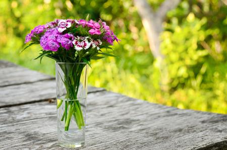 flores moradas: Ramo de claveles peque�os sobre una mesa en el jard�n Foto de archivo