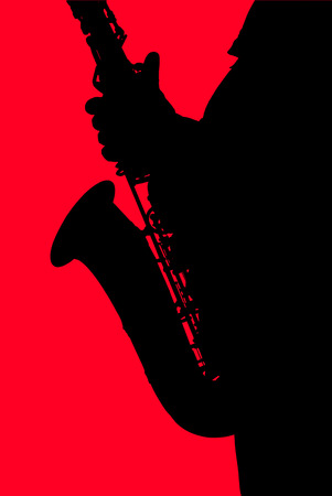 The black silhouette of the saxophone on a red background.