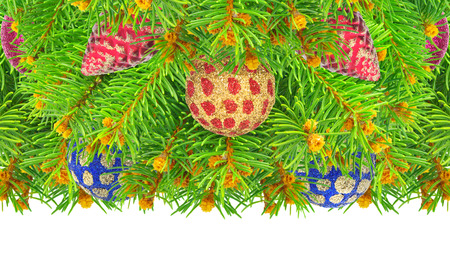 aureate: New year, Christmas tree with toys isolated on a white background.