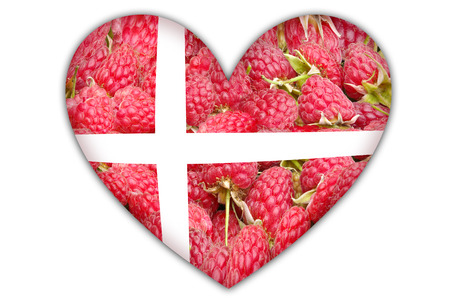 Flag of Denmark in the form of hearts on a white background. Stock Photo