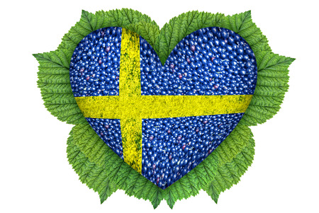Flag of Sweden in the form of hearts from the berries.