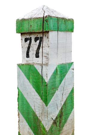 Old, wooden, demarcation, border sign isolated on white background.