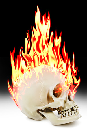 The human skull burning in the fire. Stock Photo