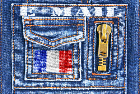 missive: Denim material with a pocket in the form of French mailbox.