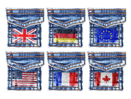 missive: Jeans pockets with the flags of England,Germany,Europe,America,Canada. Stock Photo