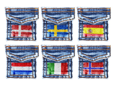missive: Jeans pockets with flags of Denmark,Sweden,Spain,Holland,Italy,Norway. Stock Photo