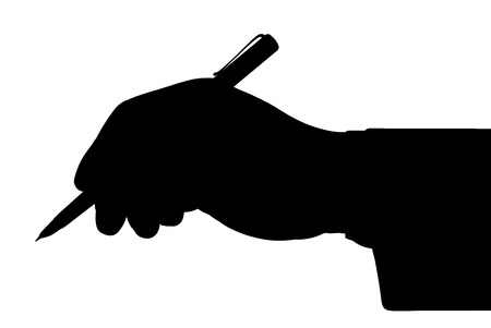deed: Black outline of the hand holding a pen