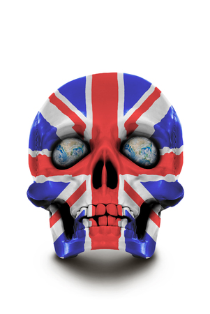 Skull painted in the colors of the Union Jack isolated on white background.