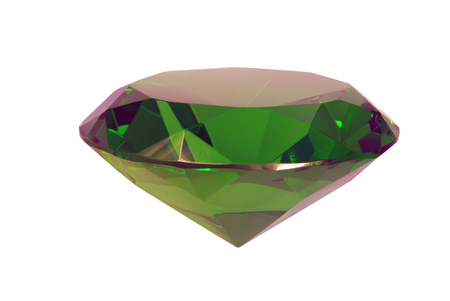 green gemstone: Green emerald gemstone on white background, lateral view