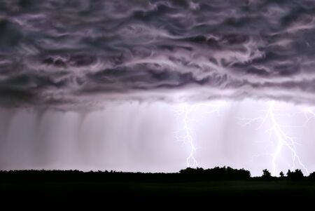 atmospheric phenomena: Night thunderstorm,rain,lightning,in the field of the forest. Stock Photo