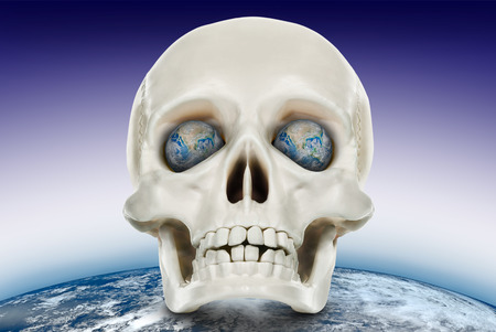 Human skull on a background of the planet earth. Elements of this image furnished by NASA (http:www.nasa.gov)