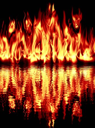 conflagration: Fire reflected in water on a black background.