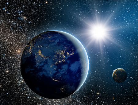 palate: Sunrise over the planet and satellites in space.Elements of this image furnished by NASA