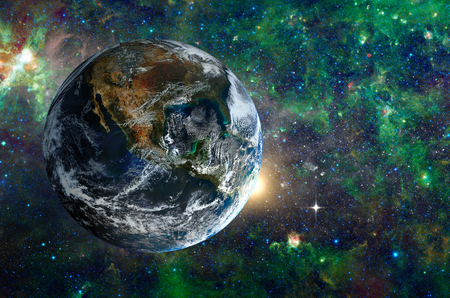 palate: Planet in the background galaxies and luminous stars. Elements of this image furnished by NASA