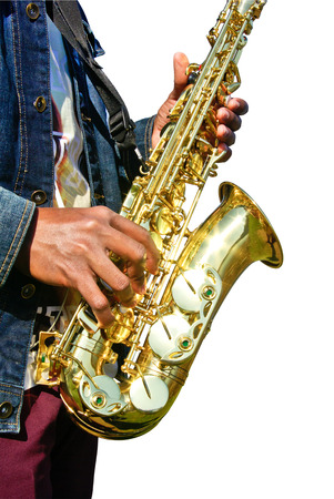 Musician playing a saxophone isolated on white background