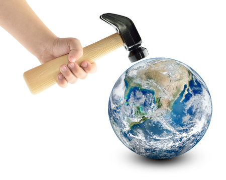 Globe smash with a hammer, isolated on a white background.