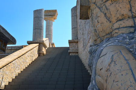 Stairs to Greek theater on the background of blue sky