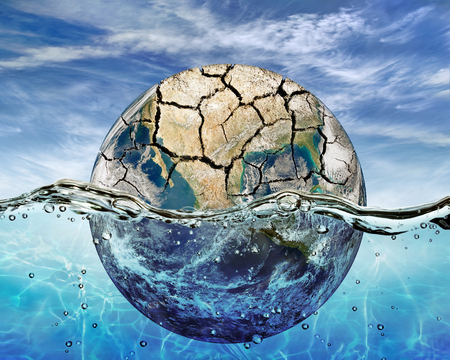 wash: Dried up planet immersed in the waters of world ocean