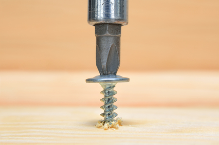 Screws screwdriver twist in wooden board. Joinery and construction work close up. Power tool operation. Stock Photo