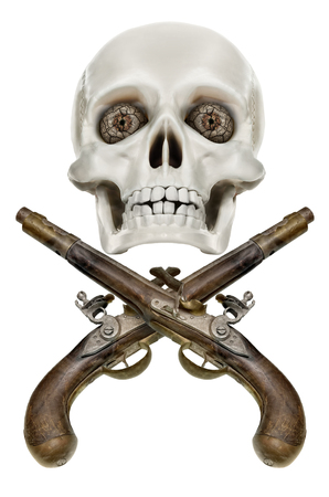 Pirates coat of arms Jolly Roger, Isolated on white background