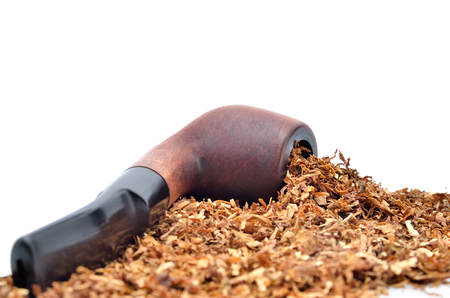 Smoking pipe and tobacco isolated on white background Stock Photo